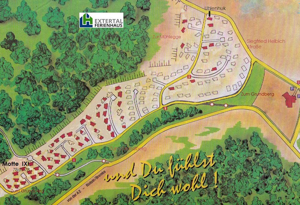 Lageplan Ferienhäuser Uhlehuk, Motte und IXI